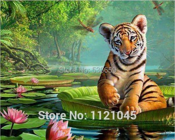 New diy diamond painting needlework square diamond cross stitch rhinestone sticker picture tiger on the lotus AD307(China (Mainland))