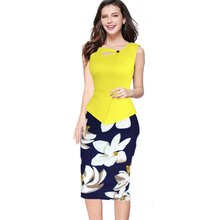 Buy Fantaist 2016 Summer Women Elegant Floral Print Solid Patchwork Sleeveless Sheath Bodycon Spring Summer Cusual Work Office Dress for $13.91 in AliExpress store