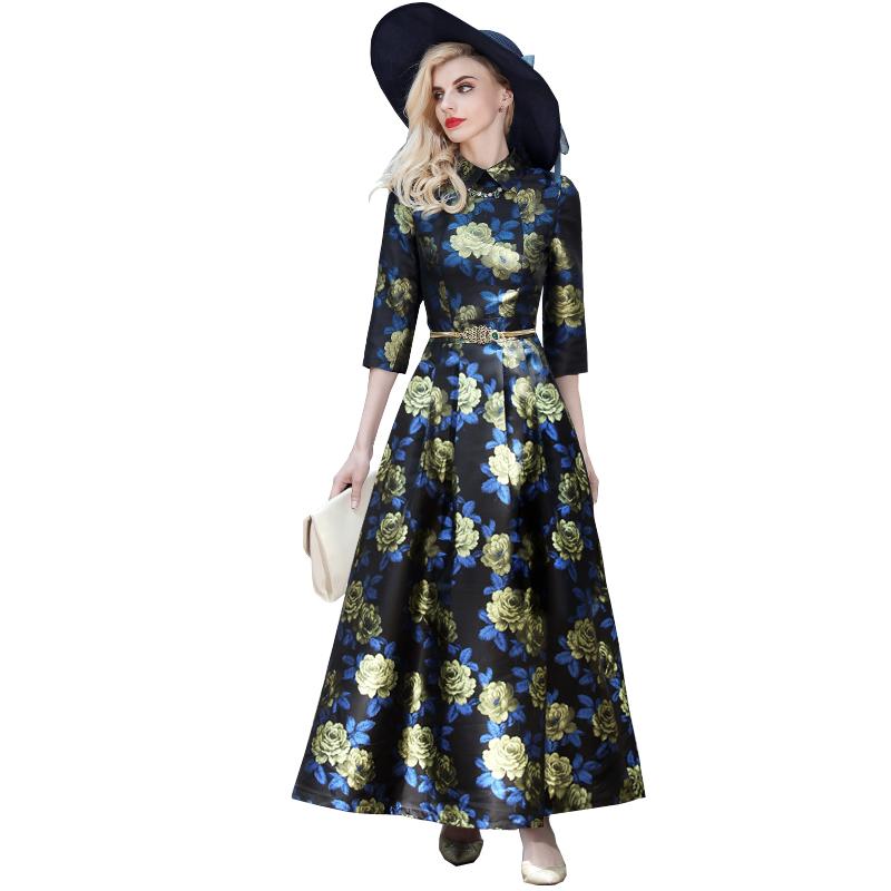 Women Vintage Print Maxi Dresses 2016 Autumn New Slim Plus Size Three Quarter Sleeve Long Ball Gown Dress 2933(China (Mainland))