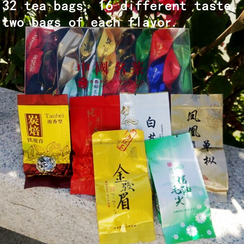 30bags 15 different flavors of tea,including black /white/green tea,Dahongpao,Pu'er tea,Tieguanyin,oolong tea,free shipping(China (Mainland))