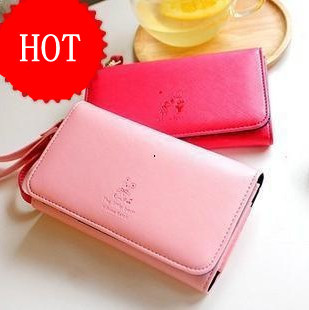 Hot Sell 2013 new woman's wallet / card package, cute multi-functional mobile wallet Free Shipping