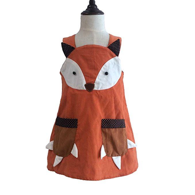 Cute Baby Kid Girls Fox Dress Halter Fall Corduroy Dress with Pockets Orange Halloween Party Dress(China (Mainland))