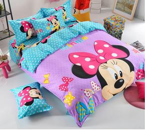 Hot Selling 3pcs/4pcs oil print cartoon Girl bedding Purple Minnie Mickey Mouse Bedding Sets Home TextileTwin/Full/queen Size(China (Mainland))