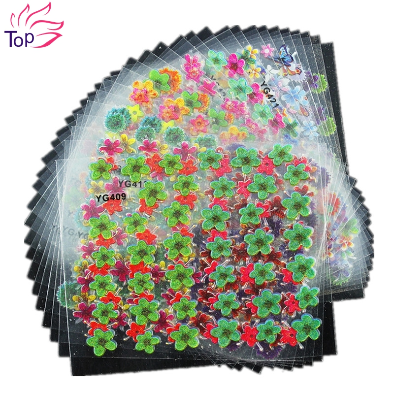 24 Pcs/Lot Colorful Glitter Butterfly Flowers Beauty Design Diy 3D Nail Stickers Manicure Decorations For Charms Nail Art JH169(China (Mainland))