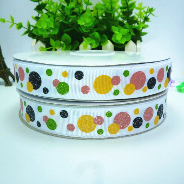 10yards 22mm 7/8''  colored glitter dots printed White grosgrain ribbon halloween holiday ribbon