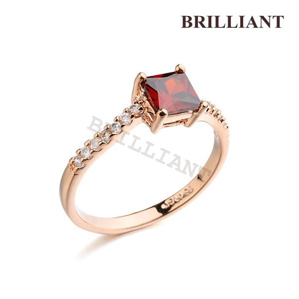 BRA095 3 Pack Ruby Red Gem Ring 18K Rose Gold Plated Wedding Rings Charm Jewelry Girls friendship - Brilliant store