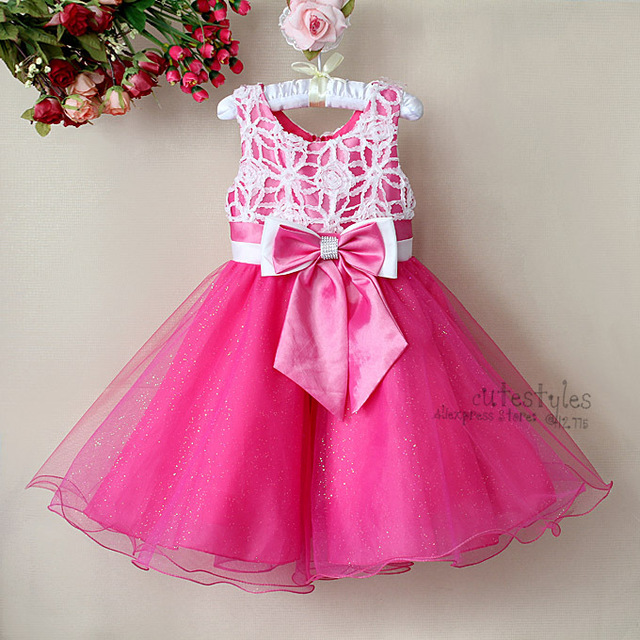 Kids Girl Hot Pink Party Princess Dress Baby Girls Fashion Bow Belt Chiffon Dresses 3-8 Years Child Summer Sleeveless Costumes