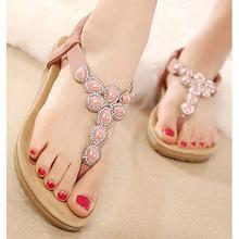 CoolFar Women sandals flats summer shoes women 2016 summer style rhinestone flat heel flip flops women shoes plus size free