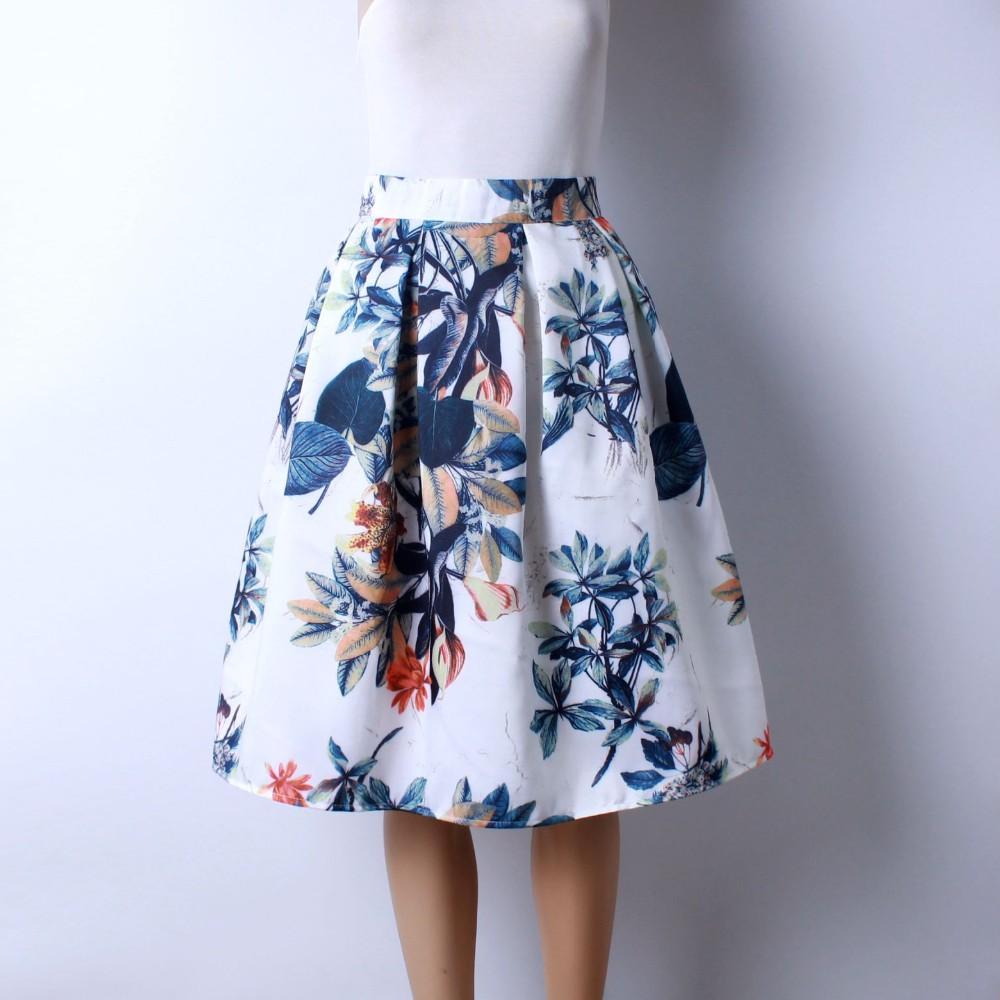 HTB15Sw5LVXXXXX3XXXXq6xXFXXXZ - GOKIC 2017 Summer Women Vintage Retro Satin Floral Pleated Skirts Audrey Hepburn Style High Waist A-Line tutu Midi Skirt