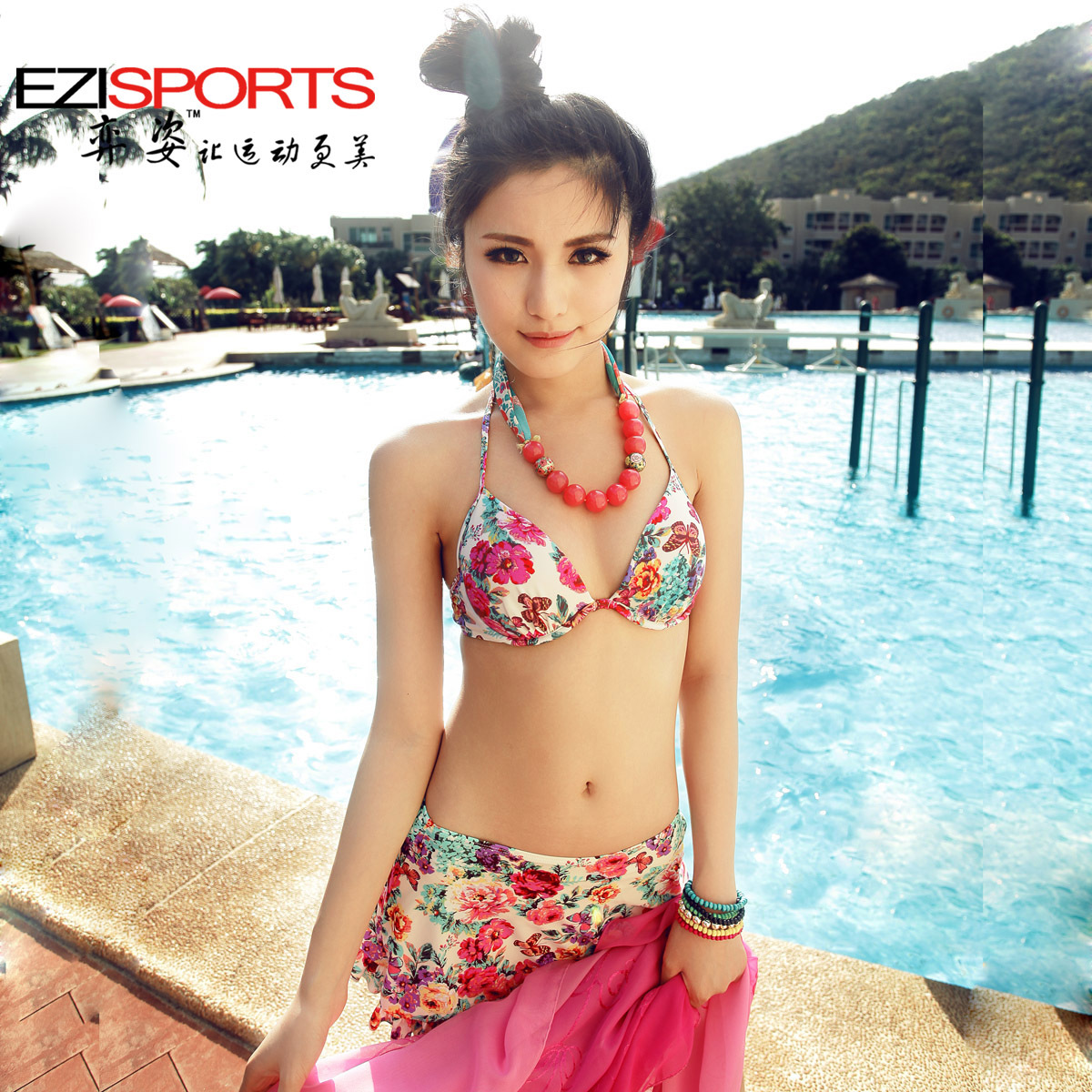 Hot spring swimwear print steel push up bikini piece set female swimwear ezi7023
