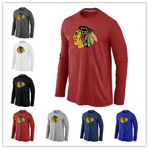 Cheap Chicago Blackhawks Long Sleeve T Shirts Big&Tall Logo Fashion Blackhawks Tees Shirt Cotton O-Neck T-shirt(China (Mainland))