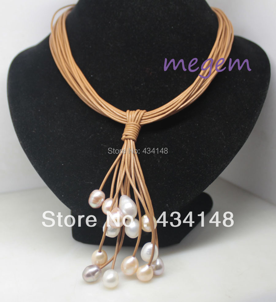 15rows 10mm-11mm real pearl white pink lilac rice brown leather pendant necklace 17 inch fashion jewelry - megem store