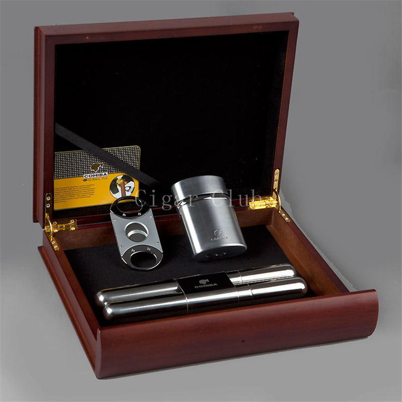 COHIBA Travel Red Sandal Wood Cigar Humidor Portable Storage Box with Stainless Steel Cutter Torch Jet Flame Lighter Tube Set(China (Mainland))