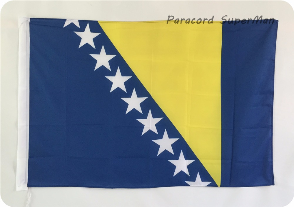 3ft x 5ft Hanging Polyester Bosnia and Herzegovina Banner Flag 150x90cm for Celebration World Cup/ Activity/ Office/ Home(China (Mainland))