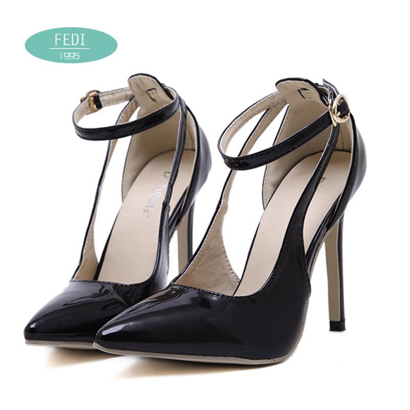 Fashion Hollow Ankle strap Black White Thin heels shoes women Summer Party Buckle Mary Janes High