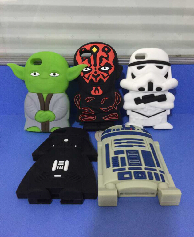 For iPhone 5S Case 3D Soft Silicone Star Wars Master Yoda Darth Vader Maul R2D2 Clone Stormtrooper Free Sipping(China (Mainland))