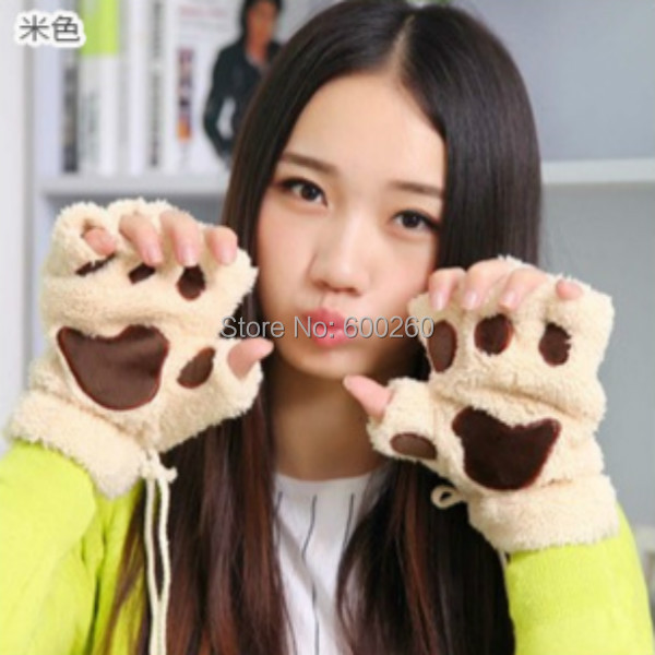 Hot sales Fluffy Bear/Cat Plush Paw/Claw Glove Novelty Halloween Soft Toweling Half Covered Women's Gloves Mittens free shipping(China (Mainland))