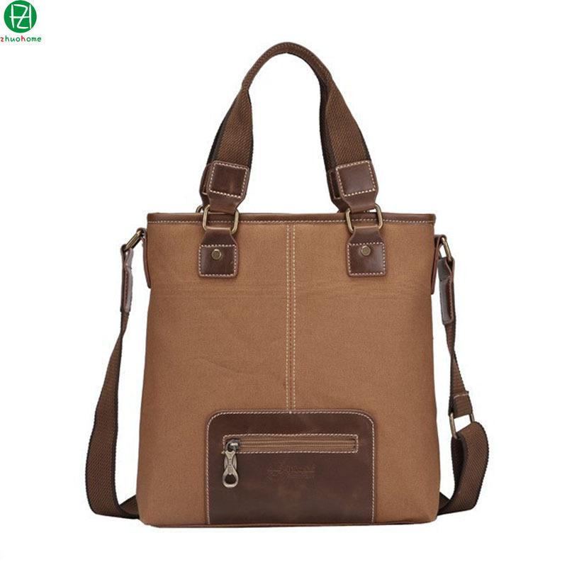 2014 genuine leather men handbag canvas large capacity messenger bags men's travel briefcase four colors