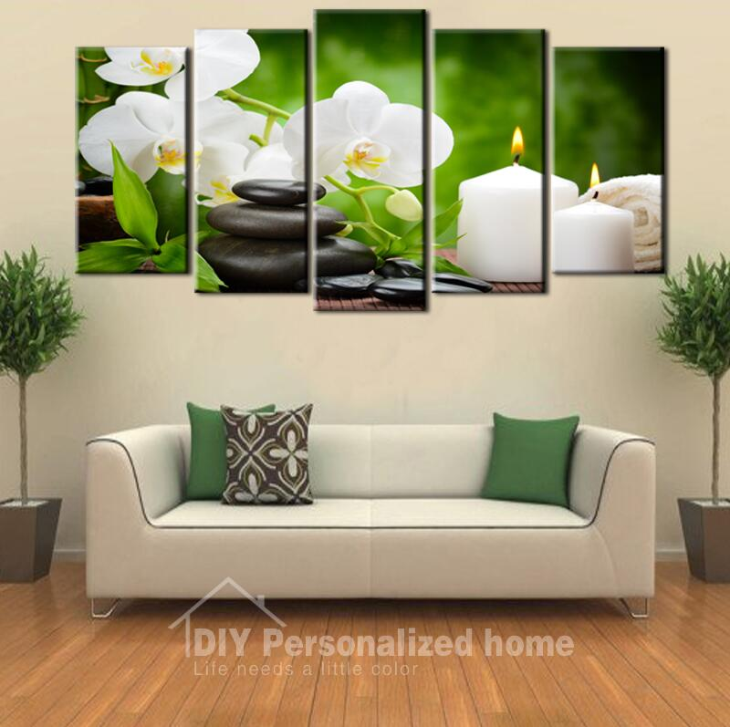 5 pieces large wall art oil painting spa stone bamboo for House decoration pieces