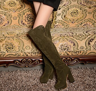 Large Size 40 41 42 43 Women Knee Boots Black Green Brown Round Toe Thick High Heels Rivets Side Zipper - Shoes! store