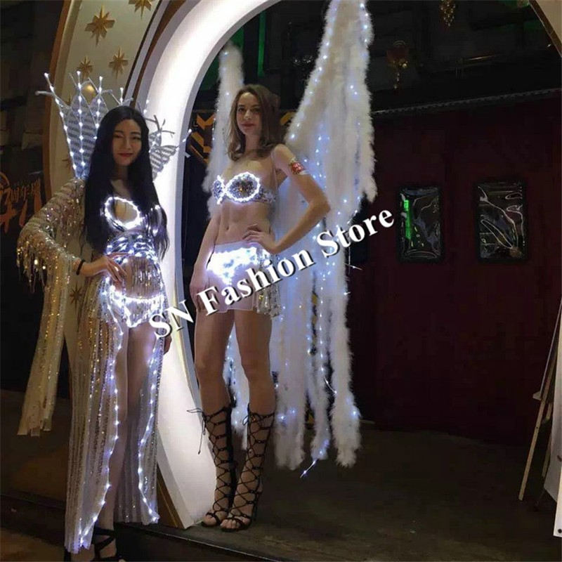 MD17-1 LED luminous stage costumes Performance Women ballroom dance led clothes women catwalk wears dj bar cosplay show leddress
