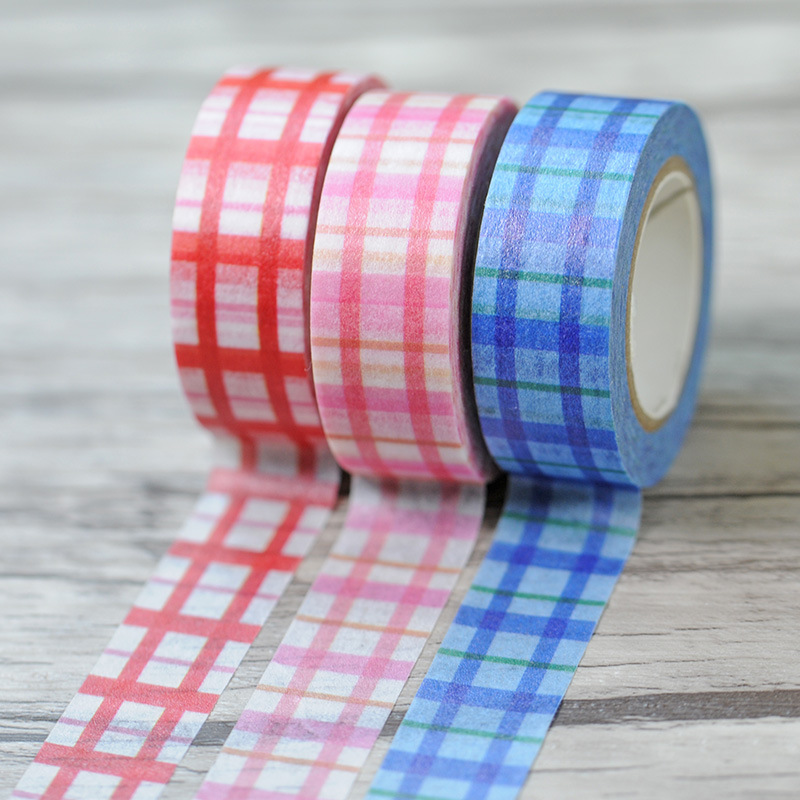New 1x Checked font b Tartan b font Japanese Washi Tape Decorative Masking Adhesive Tape Cinta