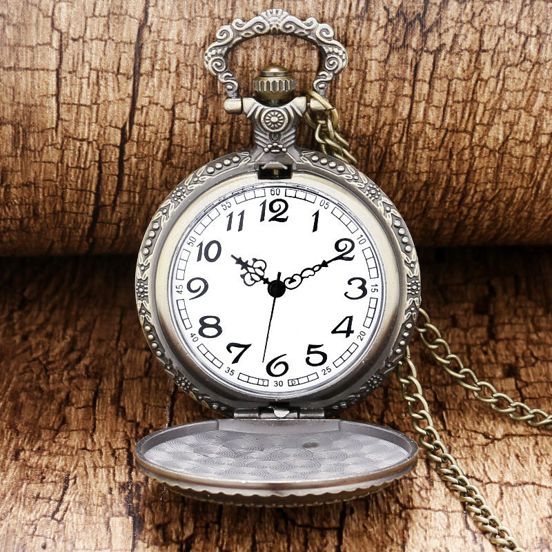 Cindiry Brand Bronze Moon Star Circle Quartz Antique Pocket Watch Men Women Relogio P2