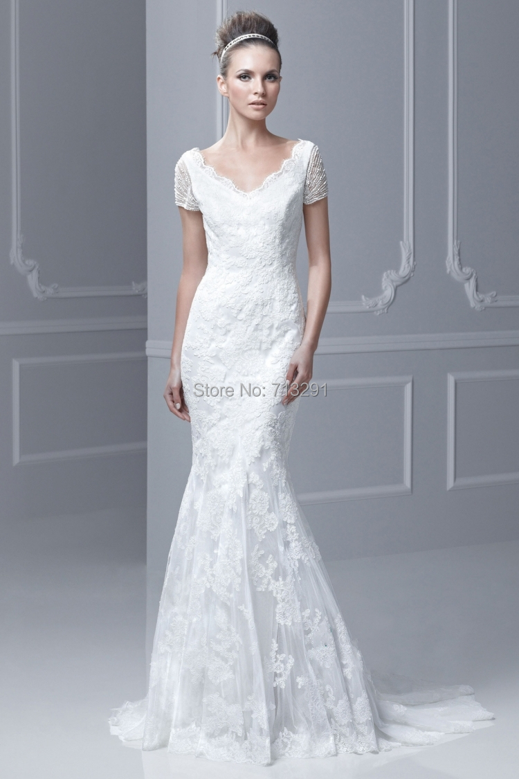 ,2014 New Mermaid Luxuriou Sprincess Backless Floor-Length Sheath Appliques Pleat Wedding Dresses Bridal Gowns - oyoy's store