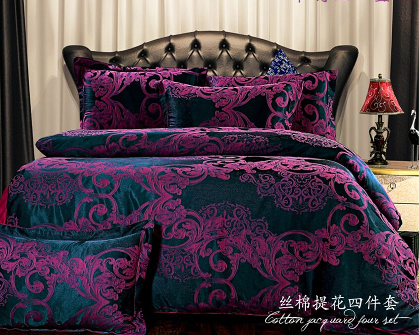 European bedding sets/dark purple bedding Cover set/Brand Bed Set/bedspread king size/embroidery jacquard bedding quilt/(China (Mainland))