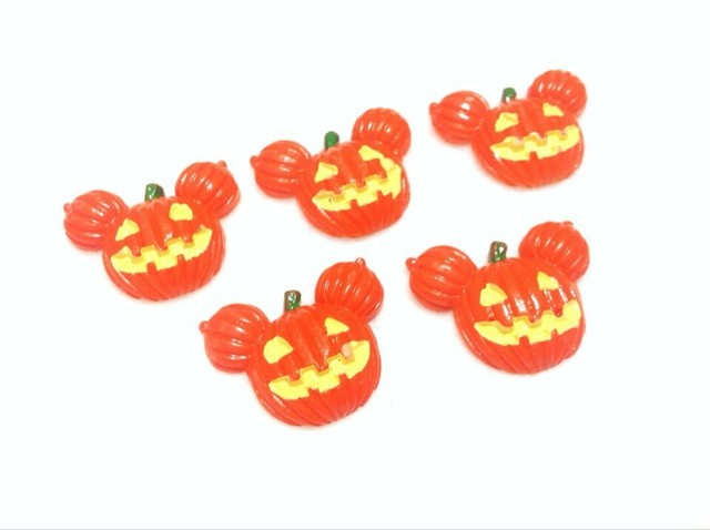 30pcs Kawaii Deco Decoden, Mouse Pumpkin Flat Back Resin Halloween Jack-o-lantern Headband/Hair bow Center/Phone Case Decoration