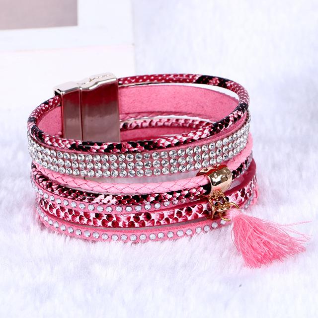 2016 новые мода продавать горячий шарм браслеты ткачество многослойные кожаные браслеты ...