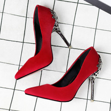 2016 New Sexy Mental Heel Women Shoes Suede leather High Heels Women Pumps Flower Metal Heel Stiletto 9 colors(China (Mainland))