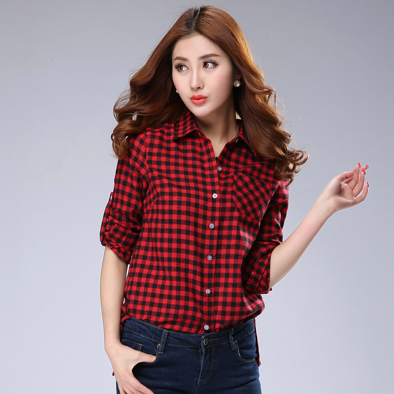 Autumn Fashion Lady Cotton Plaid Shirts Size S-2XL Long Sleeve Street Style Girls Casual Black Blouses - Natural Beauty Clothing store