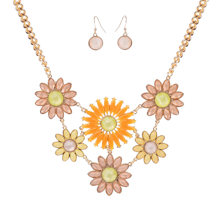 Bohemia Jewelry Sets Women Bijoux 2015 New Gold Silver Color Alloy Chain Ethnice Colorful Flower Necklace Drop Earrings - shineland Official Store store