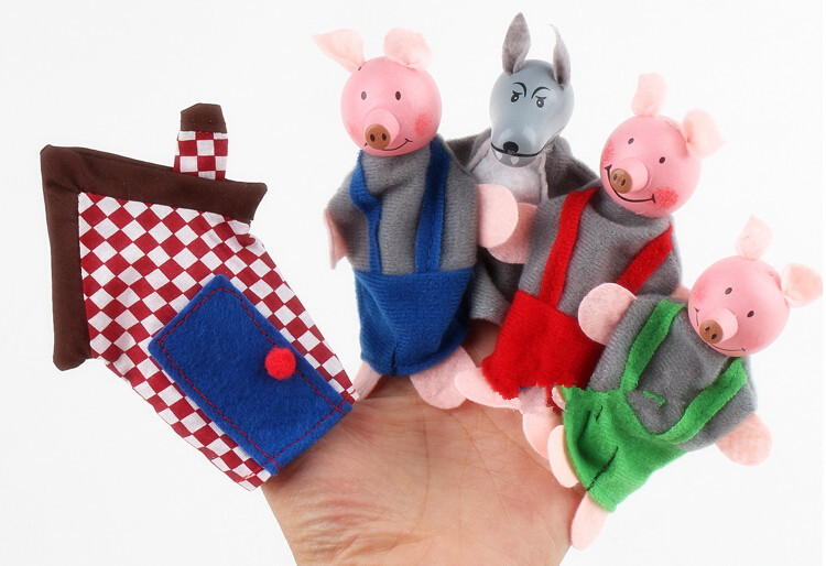 Free Shipping Lovely Three Pig Finger Puppets Baby Toys,Funny Educational Toys Hand Finger Doll for Kids Play Game Gift