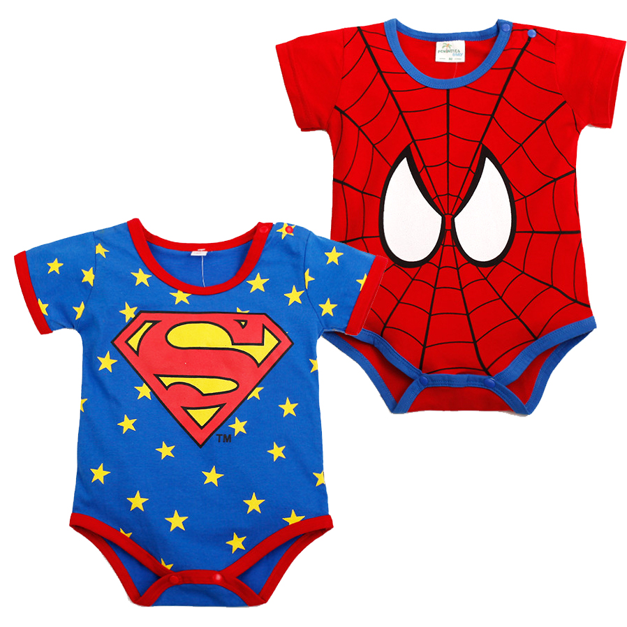 2pcs lot superhero baby bodysuits cute cartoon boy s girl s body suits summer babies clothes set