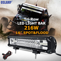 Oslamp Tri row 16inch 216W CREE Chips LED Work Light Bar Offroad Driving Lamp Combo Beam