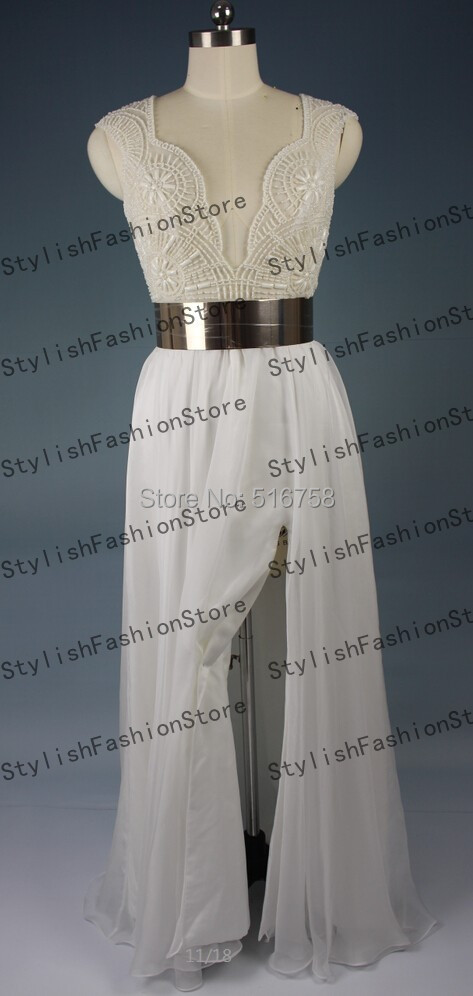 white prom dress with gold belt images