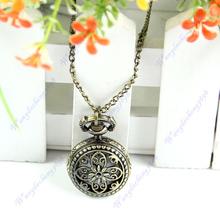Free Shipping Vintage Bronze Flower Petal Hollow Quartz Pendant Pocket Watch Chain Necklace