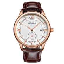 Origianl KASHIDUN Top Brand Luxury  Fashion Quartz Watches Men Luminous  Waterproof Leather Strap Men Watch Relogio Masculino
