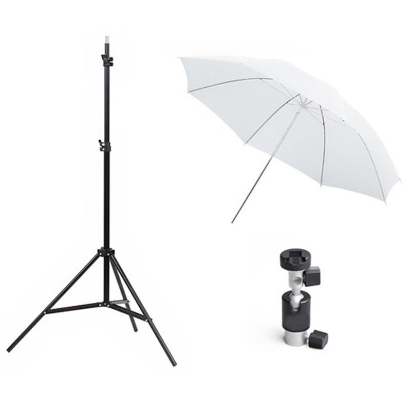 Photography Studio Kits Light Stand Translucent White Umbrella Flash Bracket Photo Studio Set
