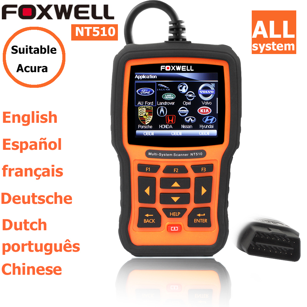 foxwell nt 510 for Acura obdii EOBD CAN Engine Analyzer auto diagnostic scanner obd code readers scan tools mdx tsx rdx(China (Mainland))