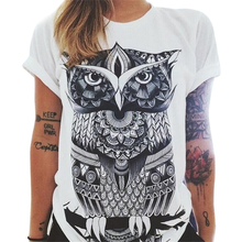 Buy New Style Summer Fashion Women Owl/Letters /eye Print T-shirt Loose Round Neck Short-sleeved Harajuku Retro T-shirt for $3.13 in AliExpress store