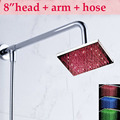 Wholesale And Retail Promotion Wall Mounted 8 LED Rain Shower Head Shower Arm Shower Hose Top