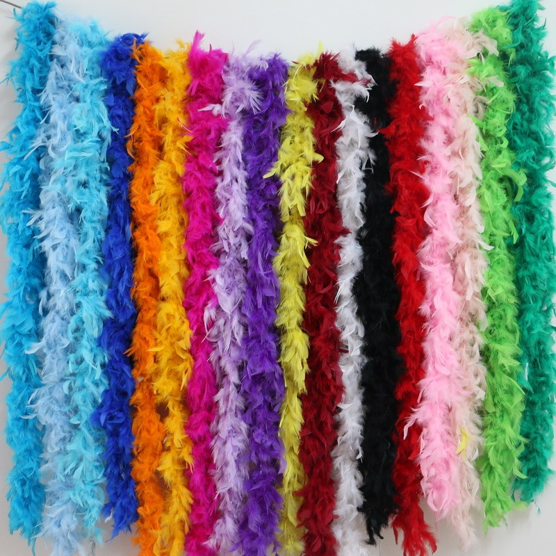 2 meters chicken Feather Strip Turkey Feather Boa for wedding birthday party wedding decorations clothing accessories 1pc