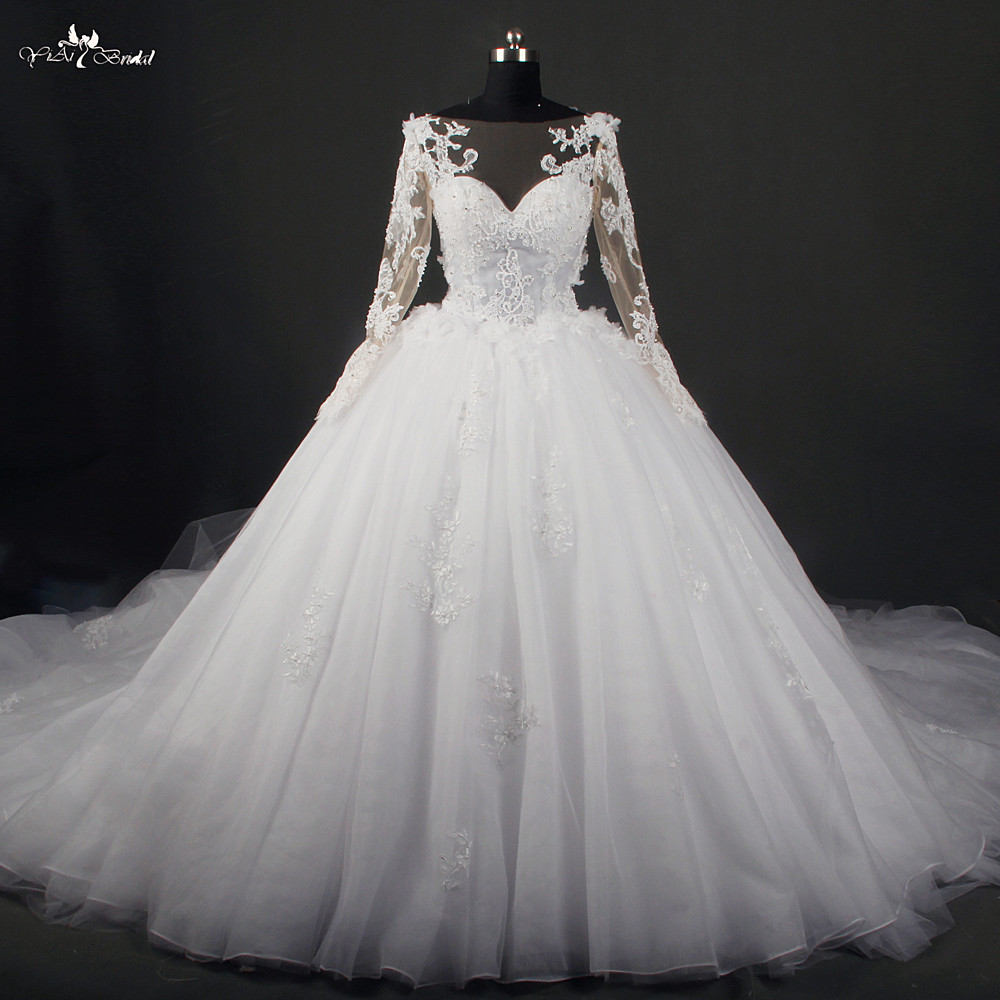 Ball Gown Wedding Dresses With Train : Train long sleeve lace wedding dresses ball gown in
