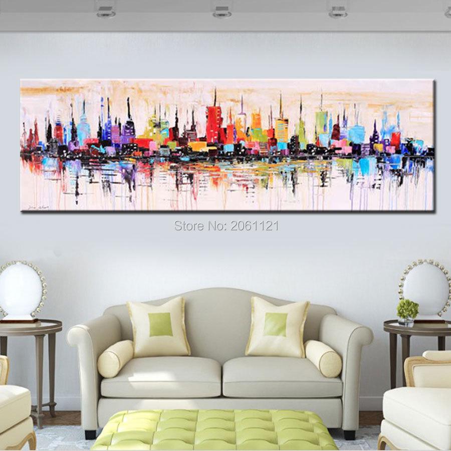 Großhandels Mode Modernes Wohnzimmer Dekoratives Ölgemälde Handgemaltes  Großes Langes Segeltuchbild Mirage Stadtlandschaft ABSTRAKTE WAND KUNST