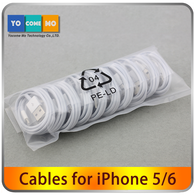 5pcs/lot High quality White Wire 8pin USB Data Sync Charging Charger Cable for iPhone 5 5s 6 6 plus iPad fit for ios 8 1M(China (Mainland))