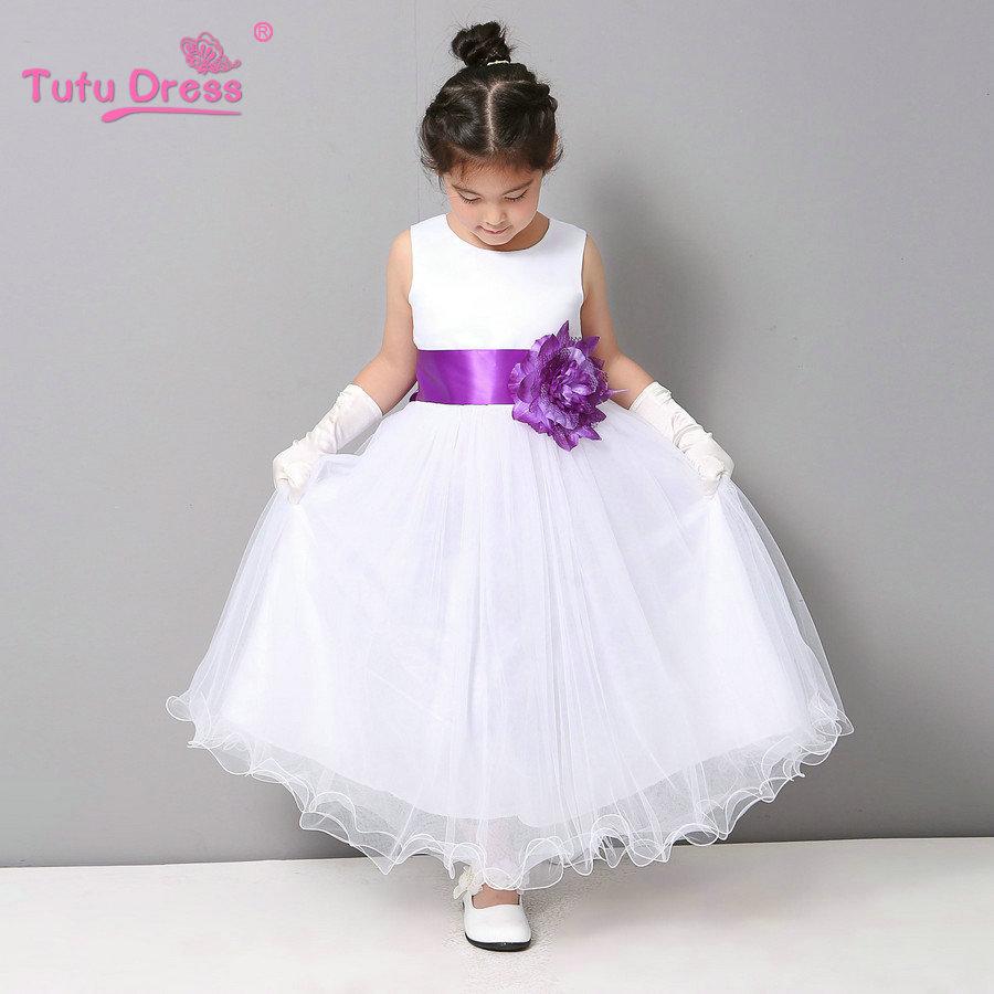 Flower Girl Dresses Summer Cheap White Stain Dress Children Toddler Kids Wedding Tutu Dress