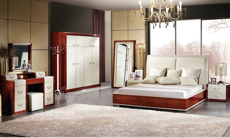 Italian design bedroom furniture bed wadrobe nighstand